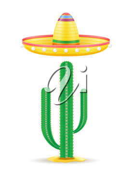 sombrero national mexican headdress and cactus vector illustration isolated on white background