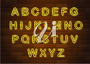 glowing neon letters english alphabet vector illustration on brick wall background