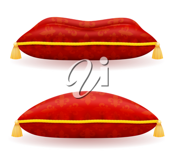 red satin pillow vector illustration isolated on white background