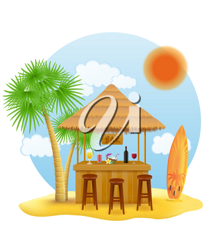 beach stall bar for summer holidays on resort in the tropics vector illustration isolated on white background