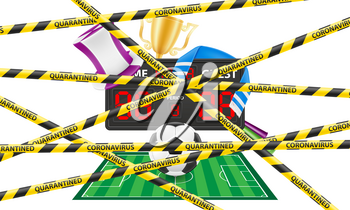 striped protective tape prohibiting any sporting events of the epidemic of coronavirus covid-19 vector illustration isolated on white background
