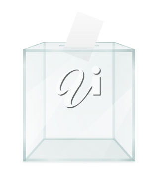 glass transparent ballot box for election voting vector illustration isolated on white background