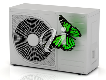 Green butterfly sits on a street conditioner on a white background