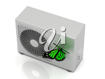 One green butterfly sits on a street conditioner on a white background