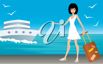 Royalty Free Clipart Image of a Woman With a Suitcase and a Ship Behind Her
