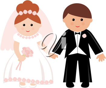 Royalty Free Clipart Image of a Bridal Couple