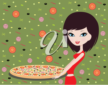 Royalty Free Clipart Image of a Girl With Pizza