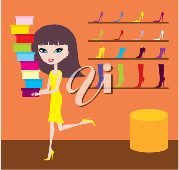 Royalty Free Clipart Image of a Girl in a Shoe Store