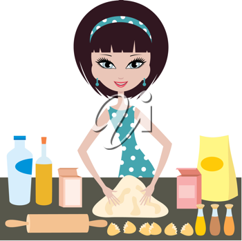 Royalty Free Clipart Image of a Girl Baking