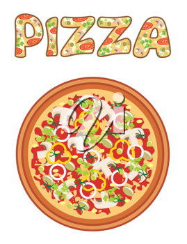 Royalty Free Clipart Image of a Pizza and the Word