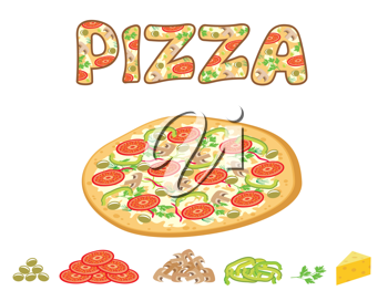 Royalty Free Clipart Image of Pizza and Toppings