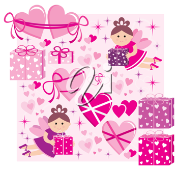 Royalty Free Clipart Image of Hearts, Gifts and Fairies