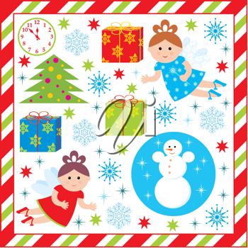 Royalty Free Clipart Image of a Background With Christmas Elements