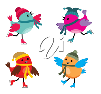 Royalty Free Clipart Image of Cartoon Birds Skating