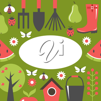 Garden green card. Harvest, fruits. Background. Vector