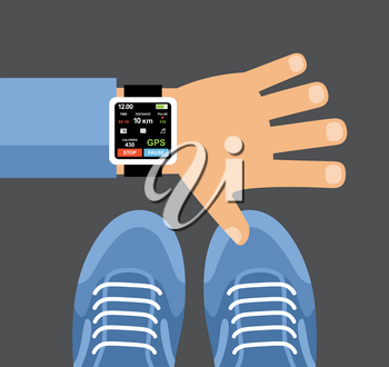 Fitness tracker app for smartwatch and smartphone. Smartwatch on a wrist. Vector