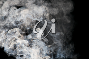 The abstract figure of the smoke on a black background
