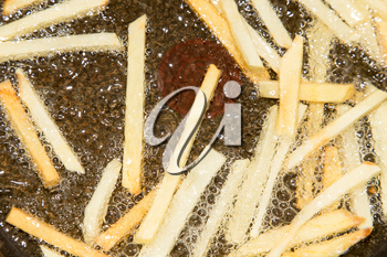 French fries are fried in a pan