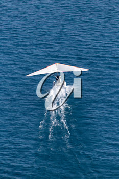 plane takes off from the surface of the water