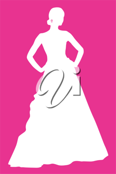 Royalty Free Clipart Image of a Silhouetted Bride on Pink