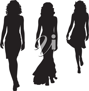 Royalty Free Clipart Image of Silhouettes of Three Women in Dresses