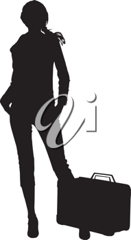 Royalty Free Clipart Image of a Silhouette of a Woman With a Suitcase