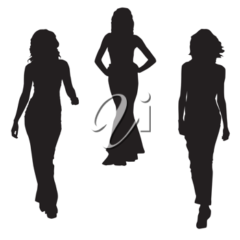 Royalty Free Clipart Image of Silhouettes of Three Women