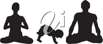 Royalty Free Clipart Image of a Family Doing Yoga