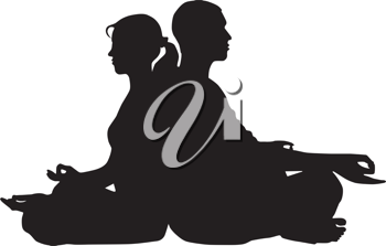Royalty Free Clipart Image of a Couple Meditating