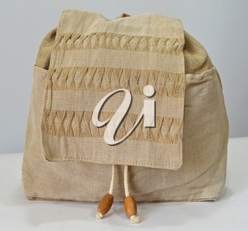 Retro handmade natural flax backpack