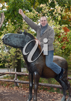 Royalty Free Photo of a Man on a Horse Statue