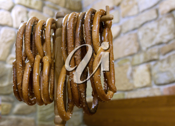 Royalty Free Photo of Pretzels in a Restaurant