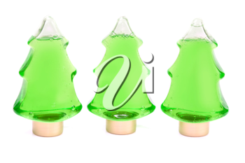 Royalty Free Photo of Christmas Tree Shampoo Bottles