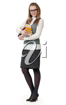 Royalty Free Photo of a Woman Holding Books