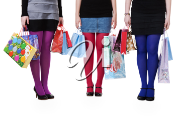 Royalty Free Photo of Three Girls Holding Shopping Bags