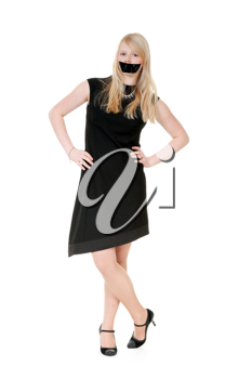 Royalty Free Photo of a Girl With Her Mouth Shaped Shut