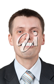 Royalty Free Photo of a Businessman With Computer Keys in His Mouth