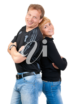 Beautiful couple in love, isolate on white