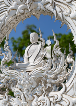 Close up detail of the White Temple. Chiang Rai. Northern Thailand
