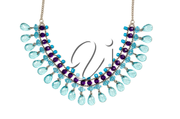Necklace with blue stones. Isolate on white.