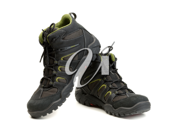 Pair of high-tech waterproof winter boots trekking. Isolate on white.