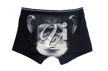 Black men's underwear with a print face of a monkey. Isolate on white.