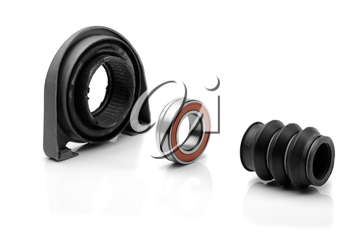 Set of bearing of the propeller shaft support bearing and shaft seal. Studio, isolate on white.