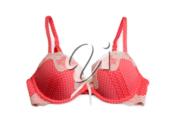 red bra with white polka dots. Isolate on white.