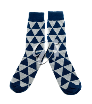 A pair of socks in a diamond pattern, blue and gray. Isolate on white.