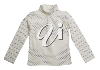 Light jacket in blue polka dots. Isolate on white.