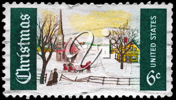 Royalty Free Photo of 1969 US Stamp Shows the Winter Sunday in Norway, Maine, Christmas Issue
