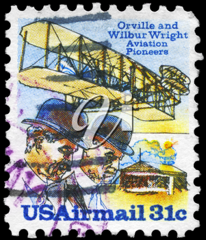 Royalty Free Photo of 1978 US Stamp Shows a Wright Brothers, Flyer A and Shed