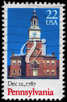 Royalty Free Photo of 1987 of US Stamp Shows Old Building, Pennsylvania, Ratification of the Constitution