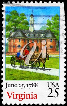 Royalty Free Photo of 1988 US Stamp Shows Horse Carriage and Building, Virginia, Ratification of the Constitution